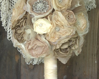 Bridal Brooch Bouquet, Vintage Bouquet, Fabric Bouquet Taupes, Champagne, blush flower bouquet , alternative bouquet wedding bouquet
