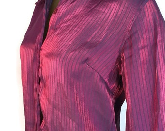 Shiny Purple Blouse, Irridescent Pinstripe Blouse, Pink Striped Blouse, Button Down Shirt, Vintage 80s Blouse, Long Sleeve Funky Shirt 1980s