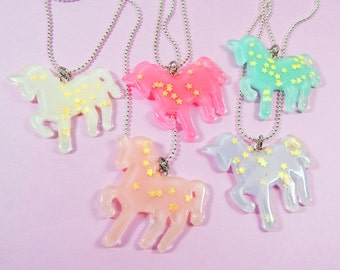 Unicorn Star Glitter Necklace - Hot Pink, Light Pink, Lilac, White, Light Blue