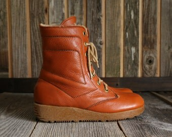 SALE - Leather Winter Boots Faux Fur Lining