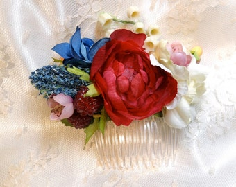 flower hair comb, flower hair clip, floral hair accessory, bridal floral headpiece, flowers for hair, red hair flower, blue hair flower,