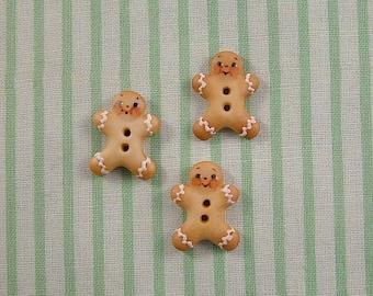 Gingerbread Man Button set of 3