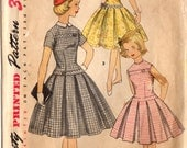 RESERVED 1950s Simplicity 1496 Vintage Sewing Pattern Girls' Party Dress, Detachable Collar Size 14