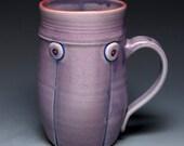 Hand Thrown Mug, Purple Handmade Ceramic Coffee Mug with red highlights, 12oz