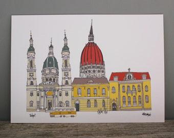 Budapest Print A4  - Budapest Cityscape Illustration - Budapest Skyline - Budapest Gift