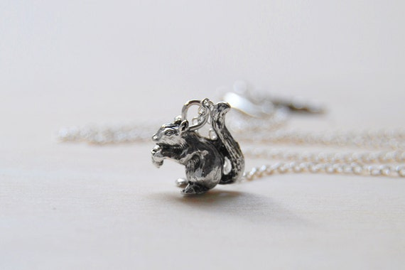 Teeny Tiny Silver Woodland Squirrel Necklace