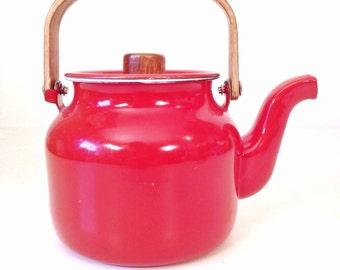 vintage teapot - rust enamel metal teapot with teak wood handle