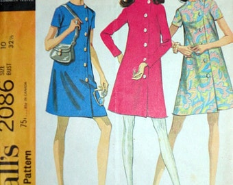 Vintage 60's McCall's 2086 Sewing Pattern, Maternity Dress in Two Versions, Retro Mod, Size 10, 32 1/2 Bust, 1960's Fashion