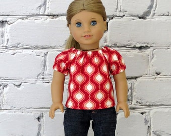 Valentines Day Peasant Top, Handmade to fit American Girl Doll, Red White Valentine Shirt