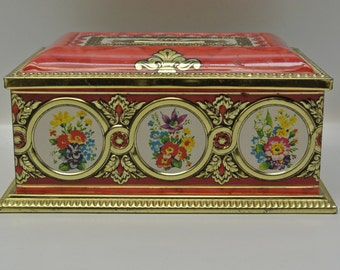 Rectangular tin with roses - Made in West Germany