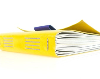 Leather Journal / Sketchbook: Lemon Yellow, Lilac and Purple colourful luxe notebook with penholder. Made in Britain ships now, worldwide.