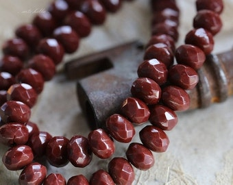 BRICK BITS .. 30 Picasso Czech Glass Rondelle Beads 3x5mm (5135-st)