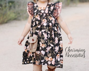 Baby Girl Clothes, Toddler Girl Clothes, Black Coral Orange Double Flutter Sleeve Vintage Dress Fall Back to School, by Charming Necessities