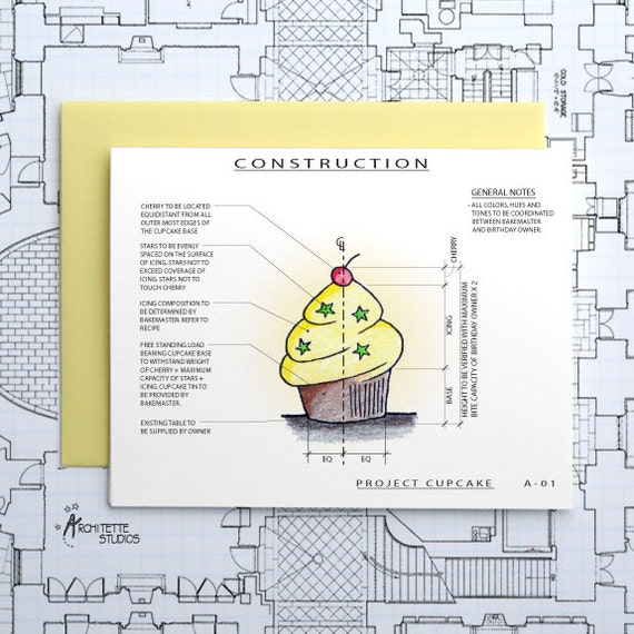 Project Cupcake - Birthday Architecture Construction Card