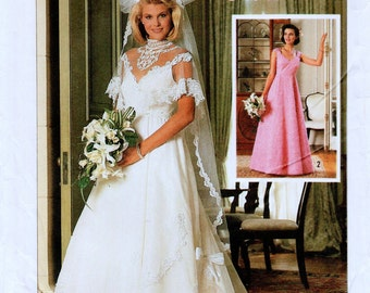 """Vintage Michele Piccionie Simplicity 7260 Misses Lined Brides' and Bridesmaids' Dress Sewing Pattern Size 6, Bust 30.5"""""""
