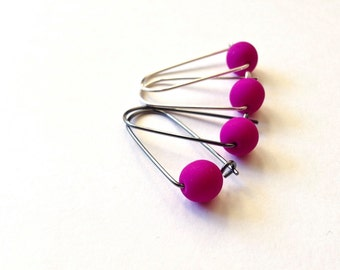fuchsia box earrings