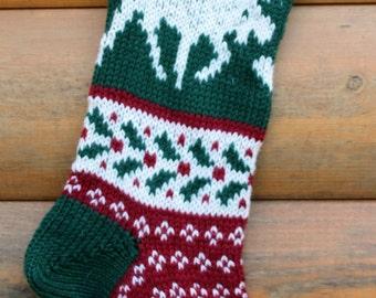 Hand Knit Christmas Stocking Moose  Handmade & Ready to ship!