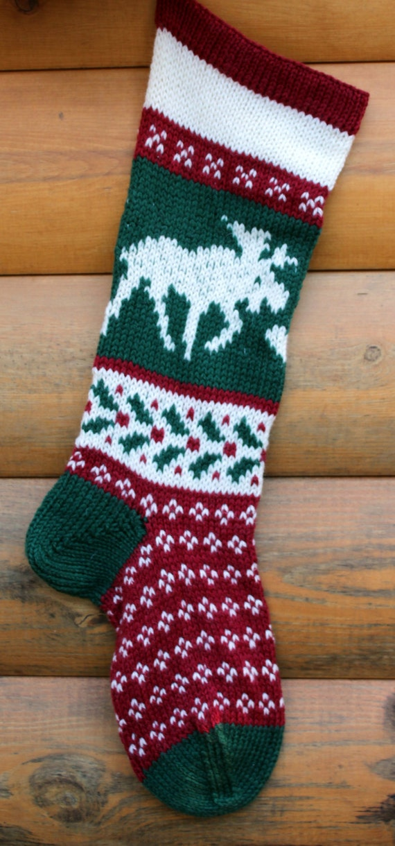 Hand Knit Christmas Stocking Moose Handmade By