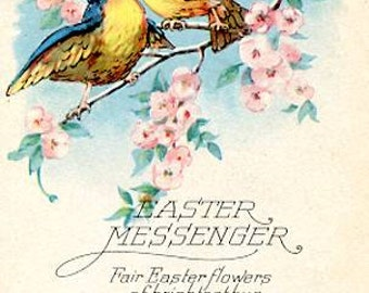 Vintage Easter Postcard  Bluebirds
