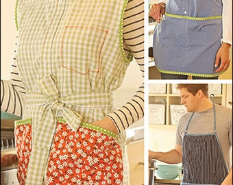 Upcycled Apron PDF sewing epattern - create two apron styles from a recycled button front shirt for men or women