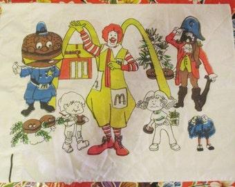 Vintage 1970z McDonalds Ronald McDonald Mayor McCheese Fry Guy Standard Size  Pillowcase