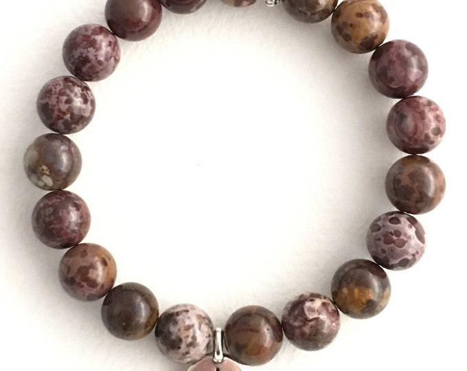 jasper maroon mini mala bracelet with buddha charm, yoga jewelry, yoga bracelet, charm bracelet, beaded bracelet, gemstone bracelet, buddha
