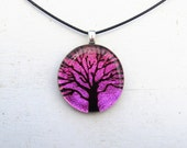 Tree of Life Art Fused Glass Pendant | Boho Bohemian Style | Nature Inspired | Yoga Necklace | Spiritual Jewelry | Pink Pendant | Chakra