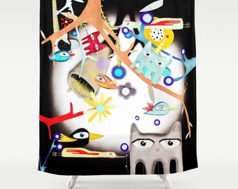 Shower Curtain - Birds Night Cats and Moon Light