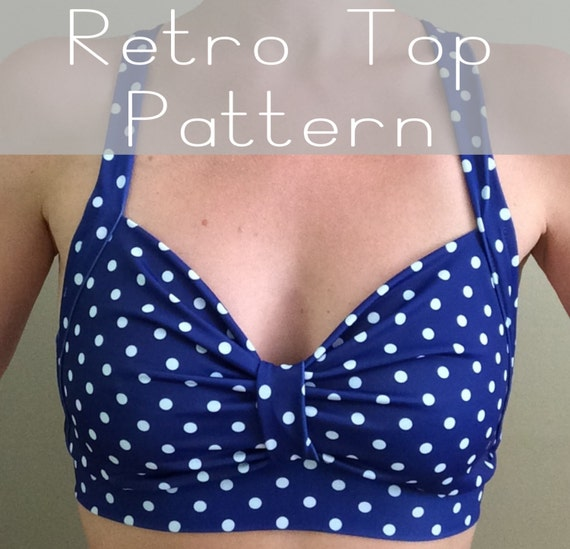 Sewing PDF Pattern and Tutorial for Retro Style Yoga, Dance, or Swimsuit Top