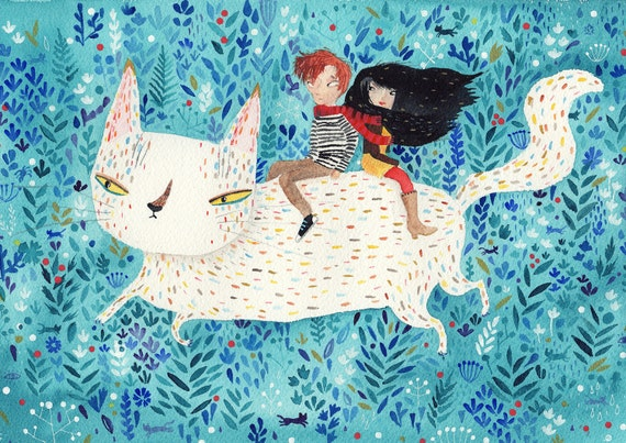 White giant cat A4 print - couple and cat illustration