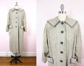 1940s Cashmere & Wool Soft Gray Coat XL