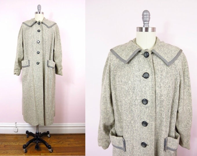 Vintage Cashmere Coat | 1940s Cashmere & Wool Soft Gray Coat XL