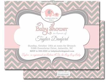 Elephant Baby Shower Invitation, Pink + Gray Chevron Elephant Baby Shower Invitation Girl, Girl Elephant Baby Shower Invitation, Printable