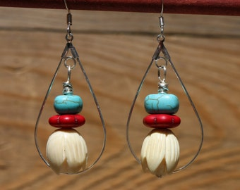 Dangle Silver Hoop Earrings with turquoise and red stone beads
