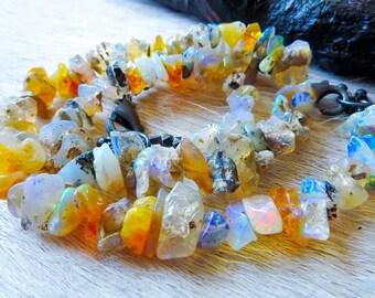 SEMI-ANNUAL SALE Raw opal bracelet | Birthstone bracelet | Boho bracelet | Fire opal bracelet | Natural opal bracelet | Brazilian jewelry