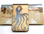 OCTOPUS Money Clip  -  STEAMPUNK Money Clip  -  Gifts for Men - Nautical - Gold