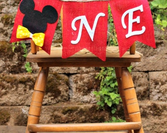 MICKEY MOUSE birthday highchair banner, Clubhouse, Mickey, first birthday bunting, flag garland, backdrop, photo prop, 1st birthday