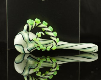 SALE Octopus Tentacle Large Glass Spoon Pipe Hand Blown Thick Wall in Stripe & Artist Swirl, Ready to Ship #226