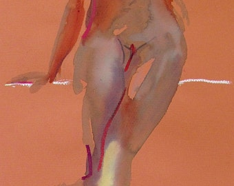 Nude painting- Original watercolor painting of Nude #1339 by Gretchen Kelly
