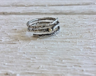 Double branch ring-Oxidized twig ring with solid 14k gold dot-Sterling silver twig ring-Organic ring-Silver twig jewelry -Engagement ring