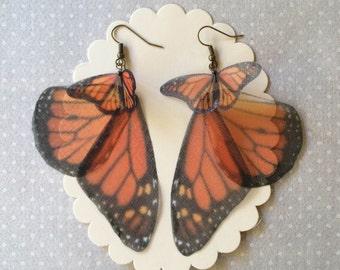 I Will Fly Away - Handmade Silk Organza Monarch Butterfly and Wings Earrings