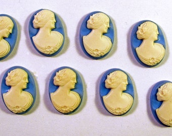 10 Ivory Lady Embossed Blue Cabochons Cameos 18X13mm