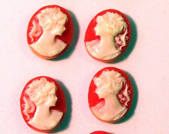 Victorian Lady 12X10 mm Oval Resin Cameos