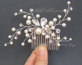 Rhinestone Pearls Hair Comb, Wedding Headpiece, Leaf Vine Bridal Hair Comb, Ivory Off White Pearls Wedding Hair Clip, Fascinator