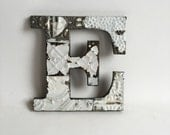 """Tin Ceiling Wrapped 8"""" Patchwork Reclaimed Metal White Letter """"E"""" Mosaic Wall Hanging 209-16"""