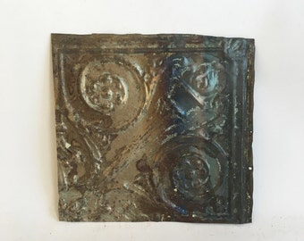 "AUTHENTIC 1890's Tin Ceiling Torch Tile Panel Bare Metal 12""x 12"" Arts and Crafts  RECLAIMED 240-16"