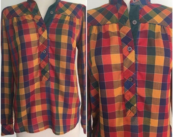 You Babes Label 1970s Tunic Top - 70s Plaid Metallic Top