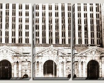 Detroit Canvas Art, Michigan Central Depot, City Art, Historic, Detroit Art, Wall Mural, Three Panel, Triptych, Photography, Black and White