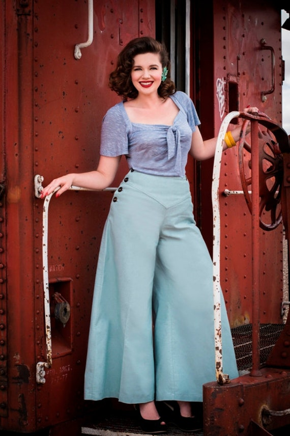 1930s Women's Pants and Beach Pajamas Sale Sale Hey Sailor 1930s style wide leg pants GREEN woven twill Small to XXL $72.00 AT vintagedancer.com