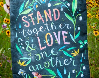 Stand Together - Handmade Cotton/Linen Tote Bag